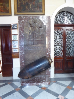 Replica of the bomb that pierced the dome of Mosta's church without exploding in 1942. Malta