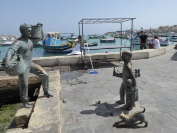 This statue is the symbol Marsaxlokk, a fishermen village located in the south east of Malta