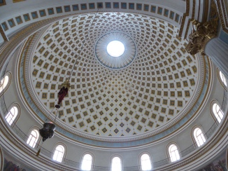 Mosta's dome, very famous for being pierced by a bomb in 1942 that did not explode