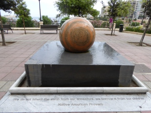 """""""We do not inherit the earth from our Ancestors, we borrow it from our children"""" spinning ball Sliema Malta"""