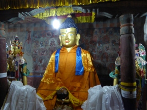 Another one of the numerous statues inside Thiksey Monastery