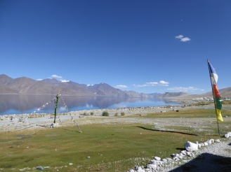At the edge of the Pangong Tso Lake