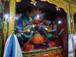 One of the numerous statues inside Thiksey Monastery