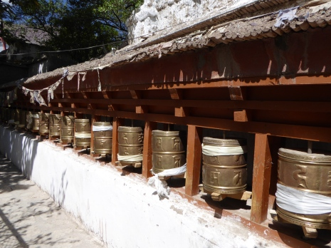 Set of wheels of prayers at Alchi village
